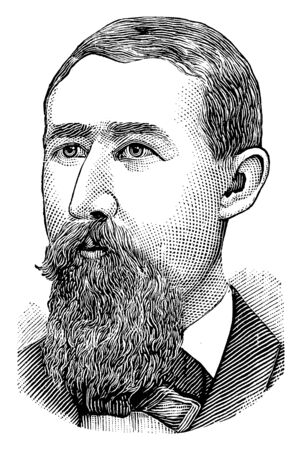 Joseph Mulhattan, he was a businessman and ex-presidential nominee, vintage line drawing or engraving illustration 向量圖像