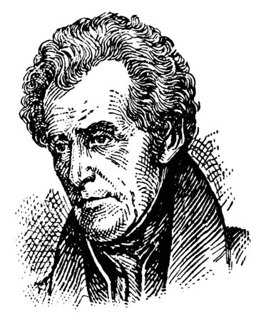 Andrew Jackson, 1767-1845, he was an American soldier, statesman, seventh president of the United States from 1829 to 1837, United States senator from Tennessee, and military governor of Florida, vintage line drawing or engraving illustration