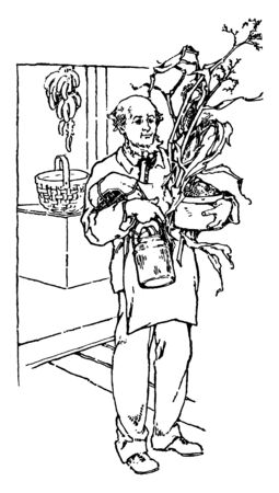 A man holding plant in hands, vintage line drawing or engraving illustration