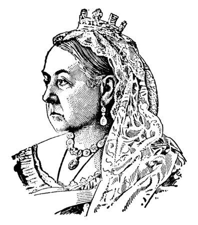 This picture showing the image of Englands Queens old age, vintage line drawing or engraving illustration. Ilustração