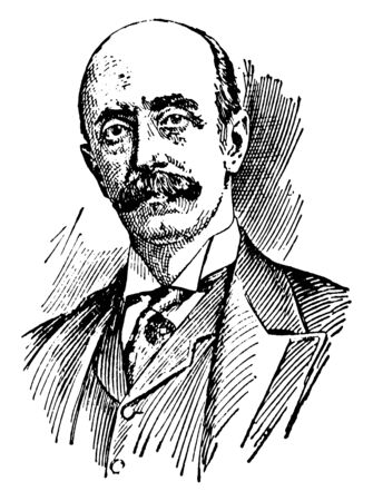 Earl Albert Henry George Grey, 1851-1917, he was a British nobleman, politician and governor general of Canada, vintage line drawing or engraving illustration