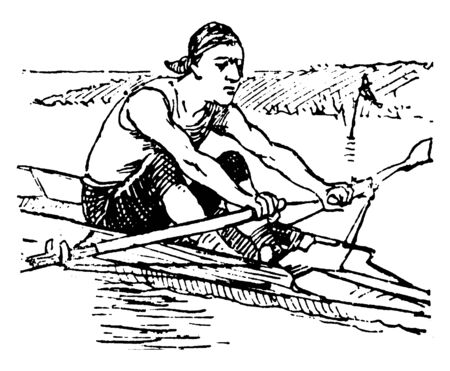Man with a good full reach during rowing, vintage line drawing or engraving illustration.