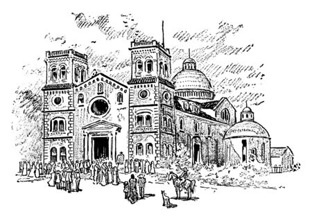 Peterborough Cathedral, appropriately the Cathedral Church of St Peter, St Paul and St Andrew otherwise called Saint Peters Cathedral in the United Kingdom, vintage line drawing or engraving illustra  イラスト・ベクター素材