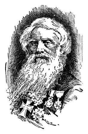 Samuel Morse, 1791-1872, he was an American painter and inventor of the Morse code, vintage line drawing or engraving illustration Illustration