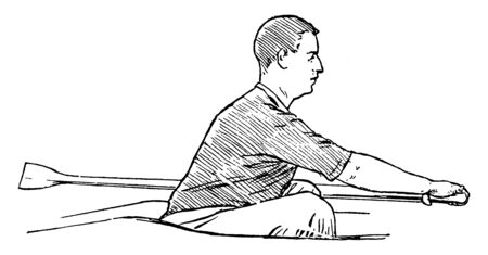 One must have good full reach during rowing, vintage line drawing or engraving illustration.