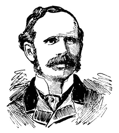 Henry Drummond, 1851-1897, he was a Scottish evangelist, biologist, writer and lecturer, vintage line drawing or engraving illustration