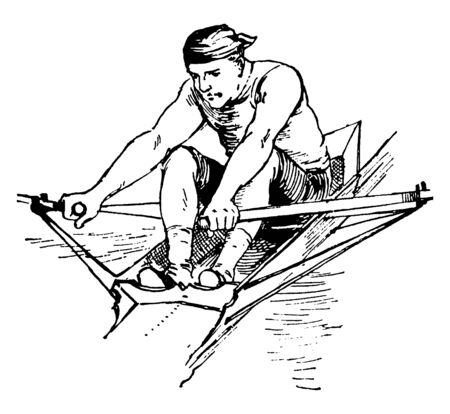 Man demonstrating a good finish during rowing, vintage line drawing or engraving illustration.