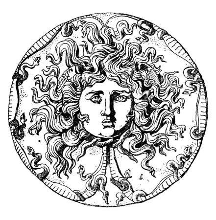 A statue of Medusa head. Medusa, in Greek mythology was a mortal woman transformed into a Gorgon, a dragon-like creature with snakes for hair, vintage line drawing or engraving illustration.