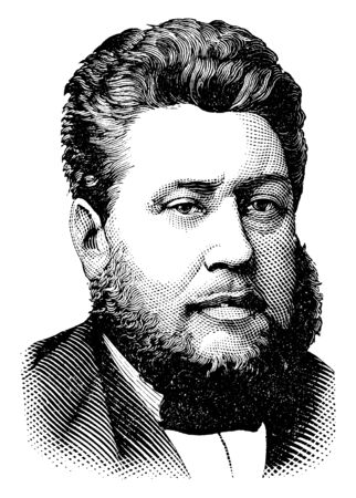 Rev. Charles Haddon Spurgeon, 1834-1892, he was an English Particular Baptist preacher, vintage line drawing or engraving illustration Иллюстрация