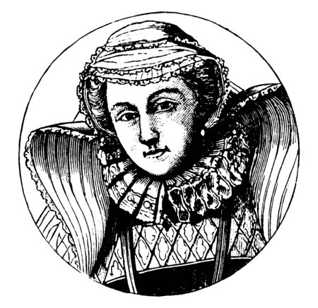 Mary Stuart, 1542-1587, she was the queen of Scotland from 1542 to 1567, vintage line drawing or engraving illustration Illustration