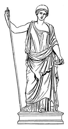 This is the picture of Hera standing. In Greek mythology, she is known as the goddess of marriage and birth, vintage line drawing or engraving illustration.