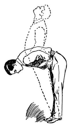 A man is bending his waist backward & forward direction, vintage line drawing or engraving illustration.