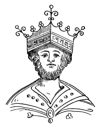 King Edgar, c. 943-975, he was the king of England from 959 to 975, vintage line drawing or engraving illustration