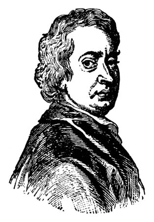 John Dryden, 1631-1700, he was famous English poet, literary critic, translator, and playwright who made England's first Poet Laureate in 1668, vintage line drawing or engraving illustration