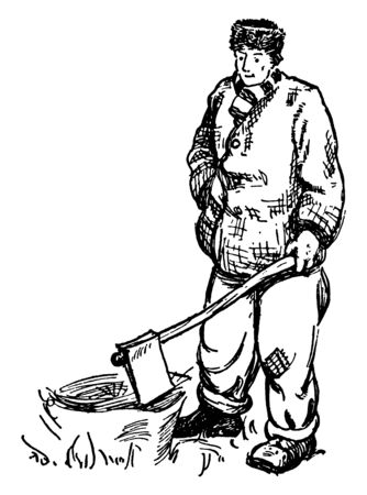 A man holding an axe to a tree stump, vintage line drawing or engraving illustration