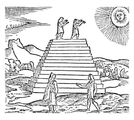 This is the image of people of Peruvians who worshipping the SUN, vintage line drawing or engraving illustration.