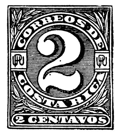 This diagram represents Costa Rica Dos Centavos Wrapper in 1890, vintage line drawing or engraving illustration.
