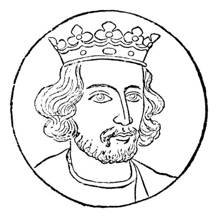 Henry III, 1207-1272, he was the king of England, Lord of Ireland and Duke of Aquitaine from 1216 to 1272, vintage line drawing or engraving illustration