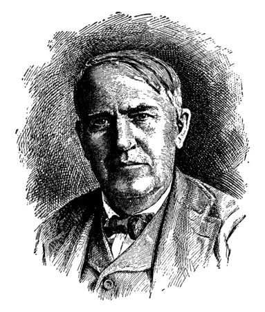 Thomas A. Edison, 1847-1931, he was an American inventor, businessman, and one of the first inventors to apply the principles of mass production, vintage line drawing or engraving illustration