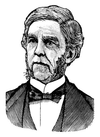 Oliver Wendell Holmes, 1809-1894, he was an American physician, poet, and polymath, vintage line drawing or engraving illustration Ilustracja