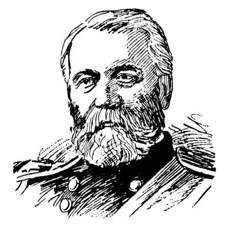General O. O. Howard, 1830-1909, he was a career United States army officer and union general in the American civil war, vintage line drawing or engraving illustration
