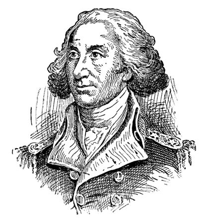 Philip Schuyler, 1733-1804, he was a general in the American revolution and a United States senator from New York, vintage line drawing or engraving illustration Ilustração