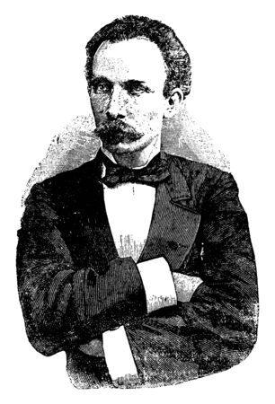 Jose Marti, 1853-1895, he was a poet, writer, philosopher, translator, political theorist, and the leader of the Cuban independence movement, vintage line drawing or engraving illustration