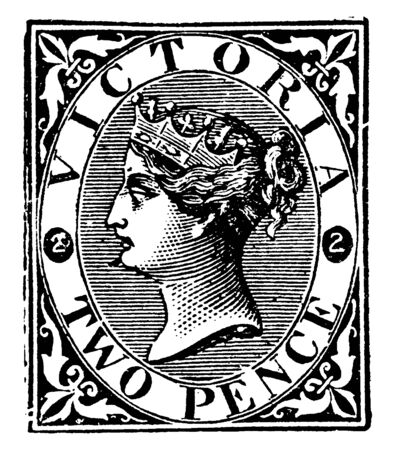 This image represents Victoria Two Pence Stamp from 1870 to 1878, vintage line drawing or engraving illustration. Reklamní fotografie - 133425581