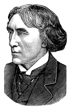 Henry Irving, 1838-1905, he was an English stage actor in the Victorian era, vintage line drawing or engraving illustration