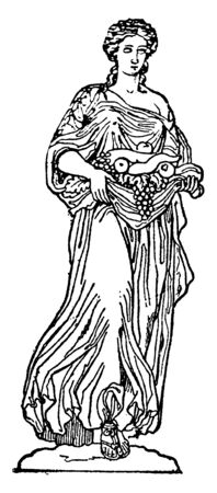 An ancient picture of Roman goddess of fruit trees known as Pomona.  Pomona was a goddess of fruitful abundance in the ancient Roman religion and myth, vintage line drawing or engraving illustration.