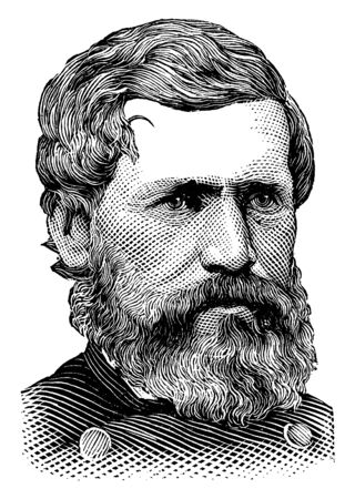 Oliver O. Howard, 1830-1909, he was a career United States army officer and union general in the American civil war, vintage line drawing or engraving illustration 向量圖像