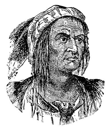 Tecumseh, 1768-1813, he was a Native American Shawnee warrior and chief of the Shawnee, vintage line drawing or engraving illustration
