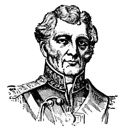 Author Wellesley Wellington, Duke of Wellington, 1769-1852, he was a British general, statesman and prime minister of the United Kingdom, vintage line drawing or engraving illustration Çizim