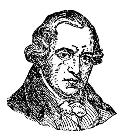James Watt, 1736-1819, he was a Scottish inventor, mechanical engineer, and chemist, vintage line drawing or engraving illustration