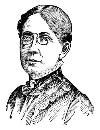 Frances Elizabeth Willard, 1839-1898, she was an American educator, temperance reformer, and women's suffragist, vintage line drawing or engraving illustration