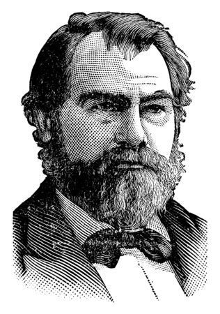 John Henninger Reagan, 1818-1905, he was an American politician and United States senator from Texas, vintage line drawing or engraving illustration