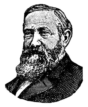 William Torrey Harris, 1835-1909, he was an American educator, philosopher, and lexicographer, vintage line drawing or engraving illustration 向量圖像