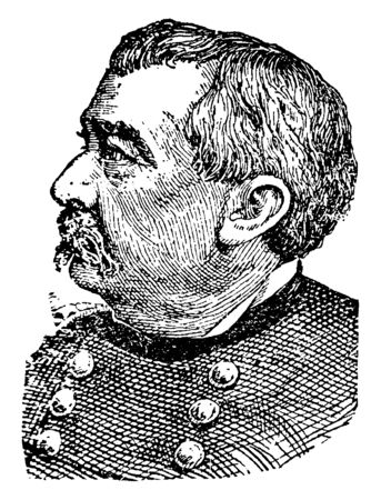 Philip Sheridan, 1831-1888, he was a career United States army officer and a union general in the American civil war, famous for his rapid rise to major general, vintage line drawing or engraving illustration