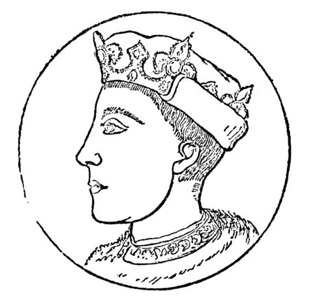 Henry V, 1386-1422, he was the king of England from 1413 to 1422 and the second English monarch who came from the House of Lancaster, vintage line drawing or engraving illustration