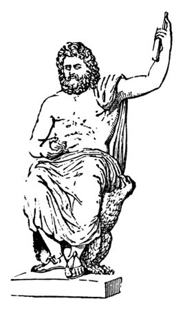 In this image The chief diety of the Greeks, who was regarded by them as the ruler  of heaven a earth, vintage line drawing or engraving illustration. Stock Illustratie