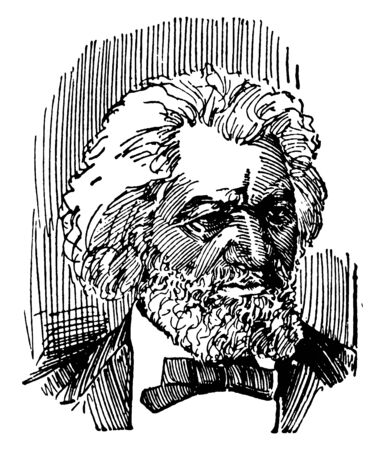 Frederick Douglass, 1818-1895, he was an African-American social reformer, abolitionist, orator, writer, and national leader of the abolitionist movement in Massachusetts and New York, vintage line drawing or engraving illustration