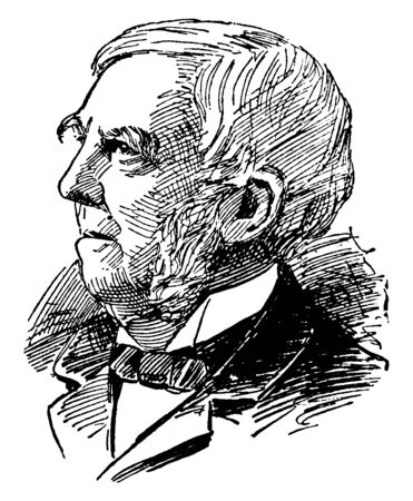 Oliver W. Holmes, 1809-1894, he was an American physician, poet, and polymath, vintage line drawing or engraving illustration