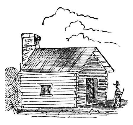 There is a small house, hovel, or cabin. This house is built with wooden sticks. The house is called as hut, vintage line drawing or engraving illustration.