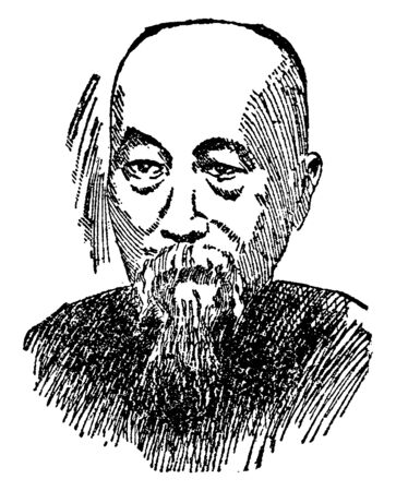 Li Hung Chang, 1823-1901, he was a Chinese politician, general and diplomat of the Qing dynasty who quelled several major rebellions and served in important positions in the Qing imperial court, vintage line drawing or engraving illustration