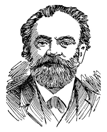 Antonin Dvorak, 1841-1904, he was a Czech composer, vintage line drawing or engraving illustration