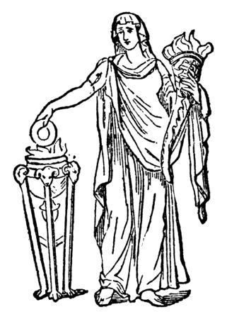 An ancient picture of Vesta, A distinguished divinity of Rome, considered as the goddess of fire and hearth, vintage line drawing or engraving illustration.