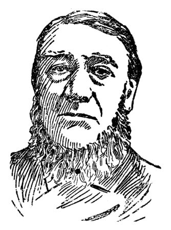 Paul Kruger, 1825-1904, he was the president of the South African republic from 1883 to 1900, vintage line drawing or engraving illustration  イラスト・ベクター素材