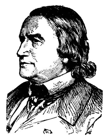 Alfred Victor, Compte de Vigny, 1797-1863, he was a French poet and leader of French Romanticism, vintage line drawing or engraving illustration Illusztráció