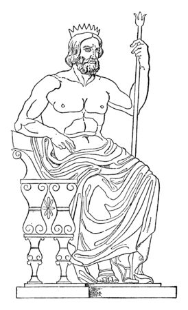 There is a king in this frame, he is sitting on a throne and there is a rod in his right hand and there is a lotus in the upper extremity of that stick, vintage line drawing or engraving illustration.