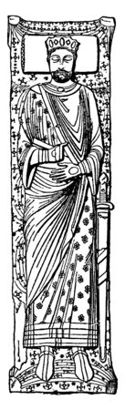 Henry II of England, 1133-1189, he was the king of England from 1154 to 1189, Duke of Normandy and Aquitaine, and Lord of Ireland, vintage line drawing or engraving illustration